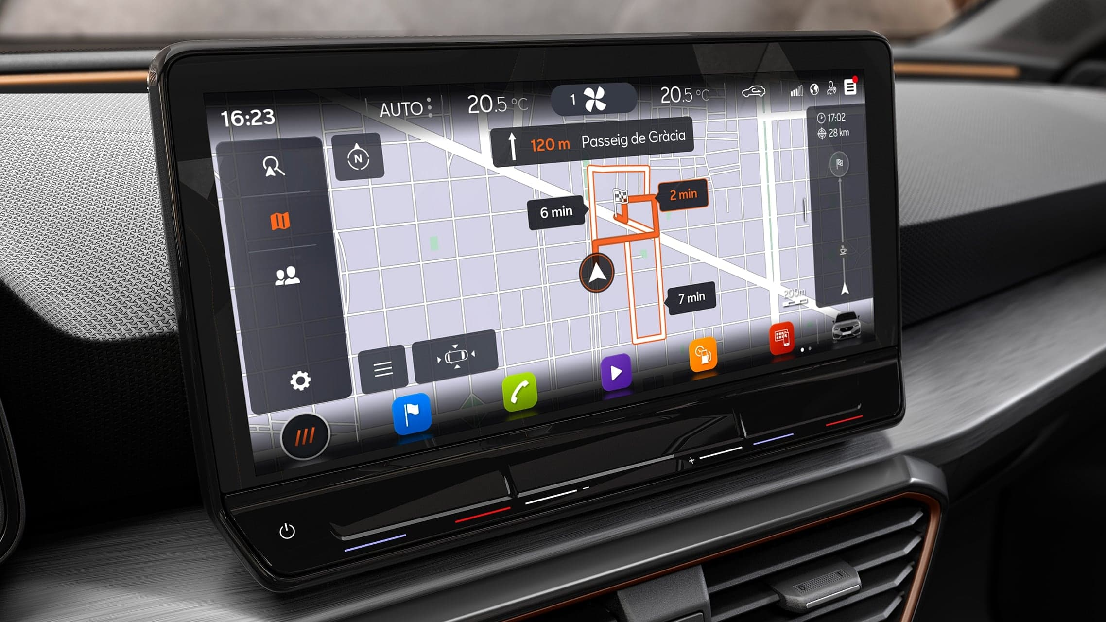 Real-time traffic GPS of the new CUPRA Leon Estate e-HYBRID Family Sports Car interior view. Interior view