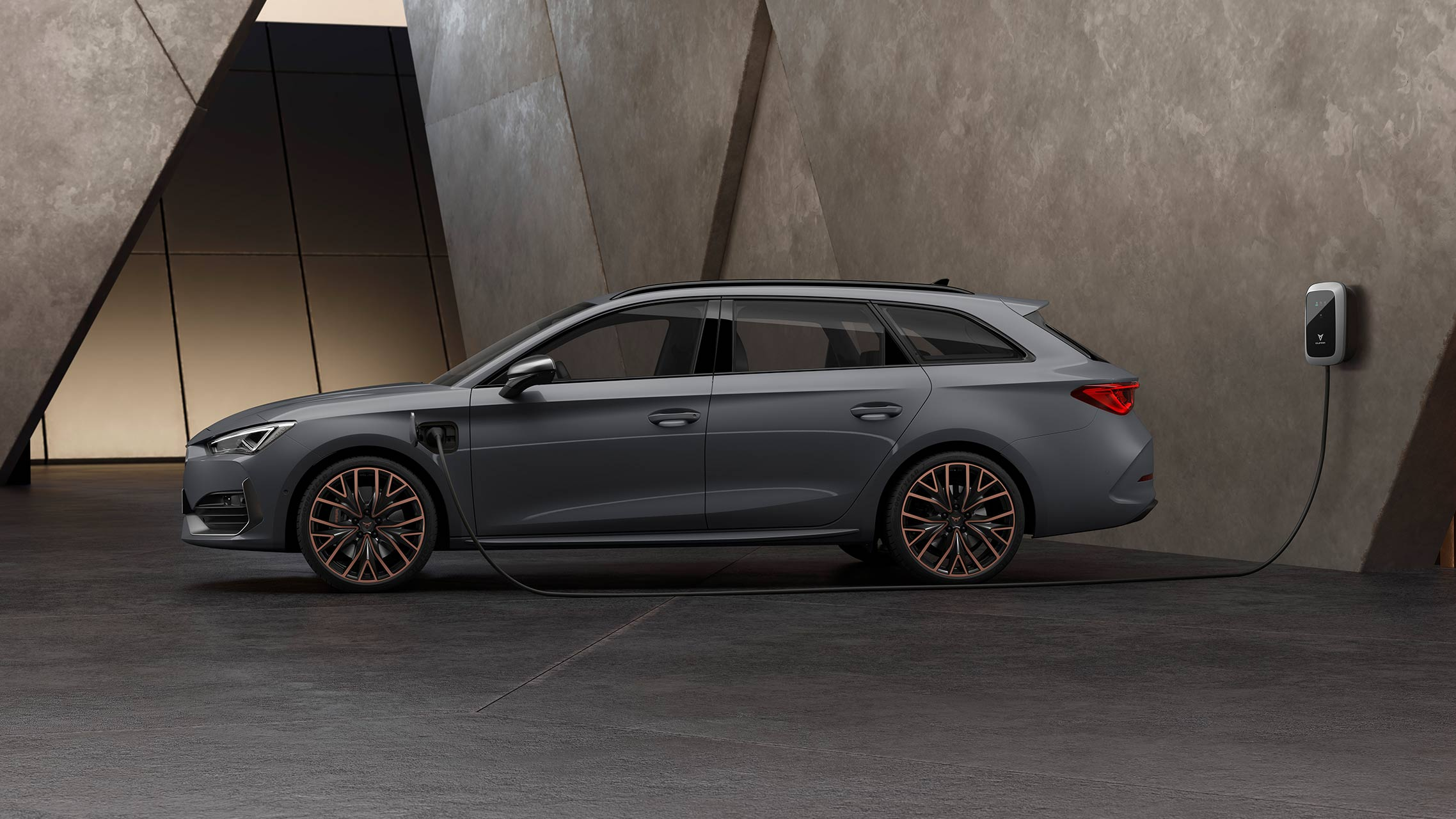 new CUPRA Leon Estate e-HYBRID Family Sports Car in graphene grey with electric range of up to 6km and 3 hours charging time