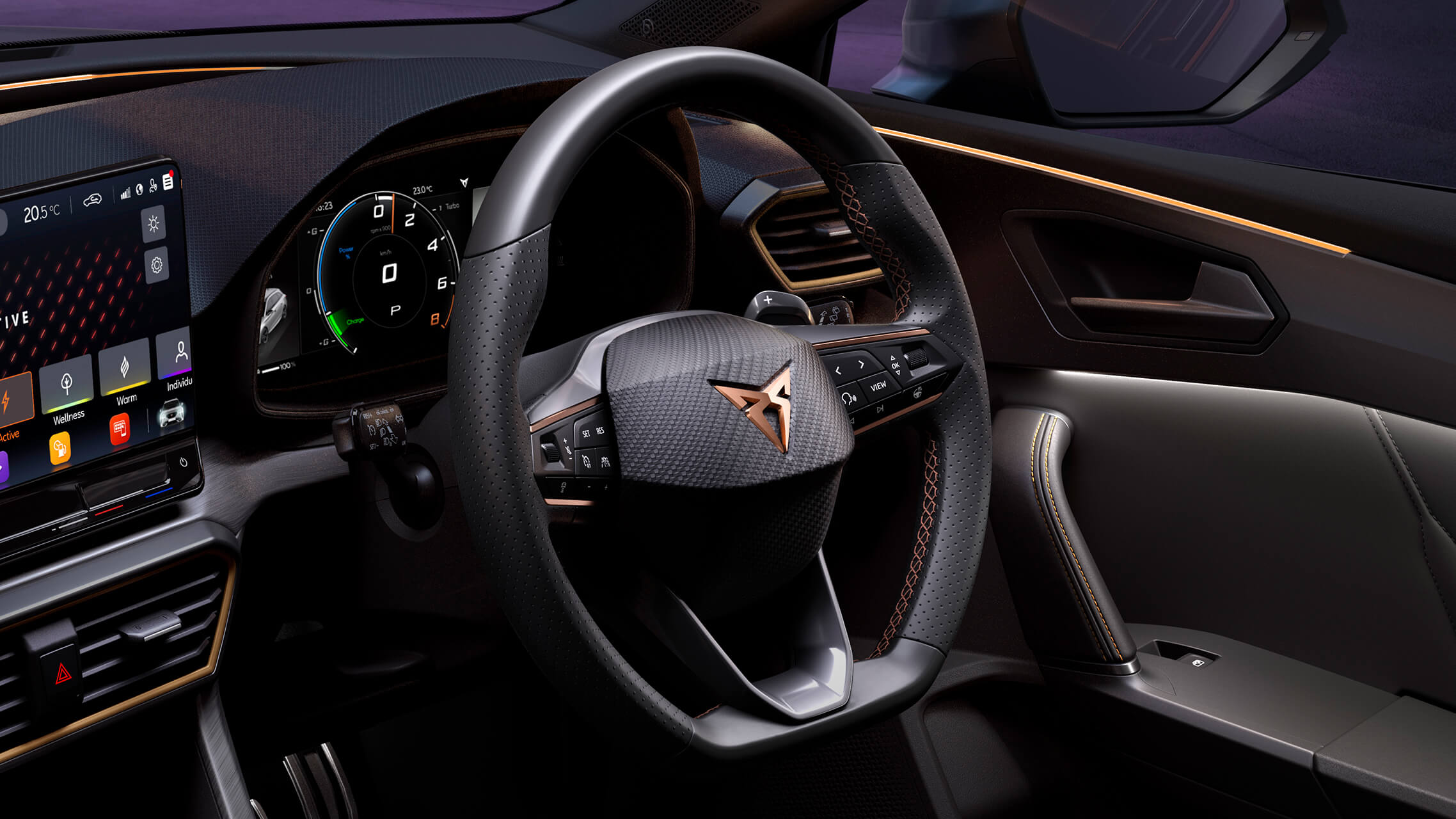 new CUPRA Leon ehybrid compact sports car interior view of leather steering wheel with driving profile mode button
