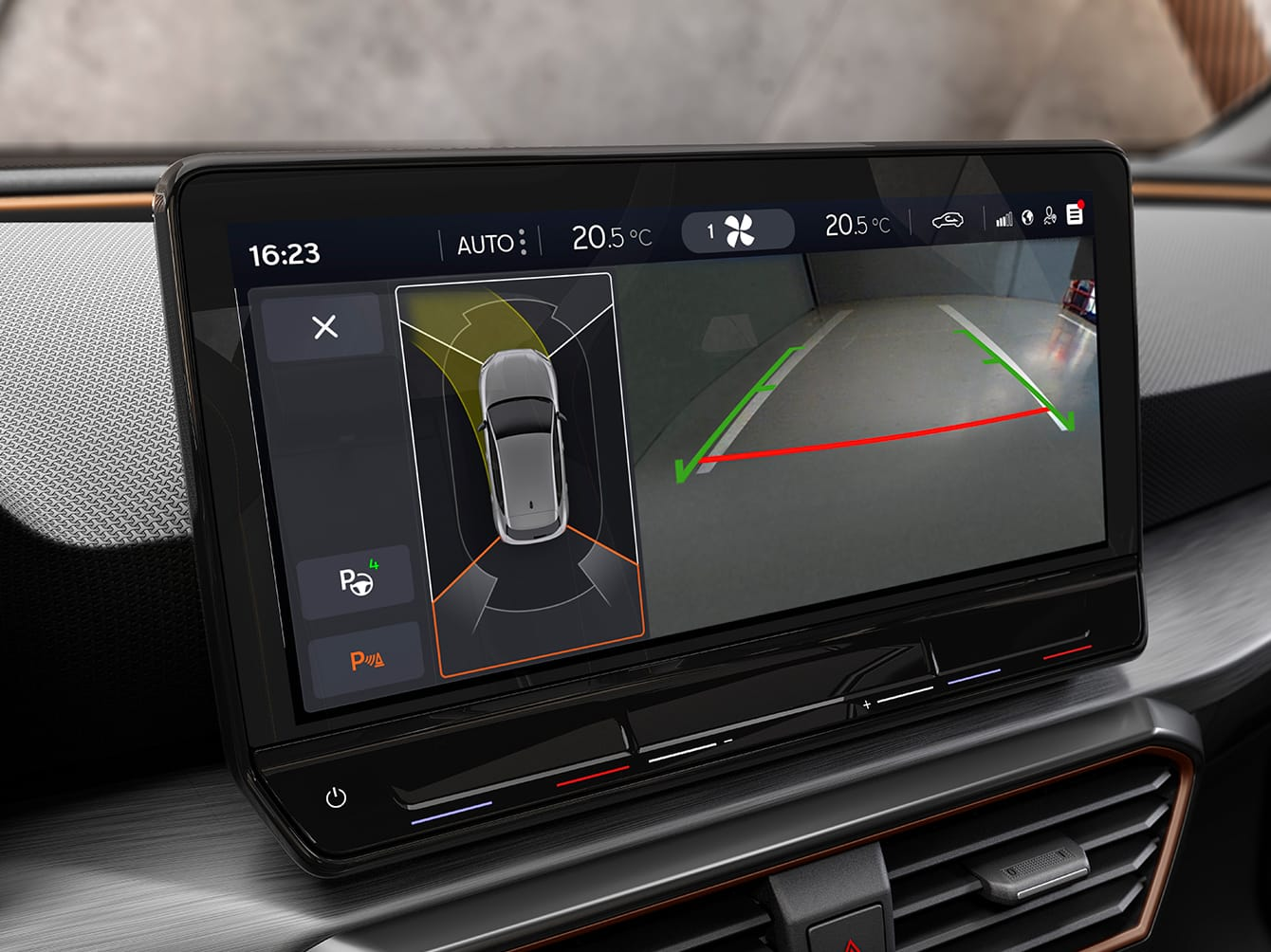 Autonomous parking of the new CUPRA Leon five doors e-hybrid compact sports Car interior view